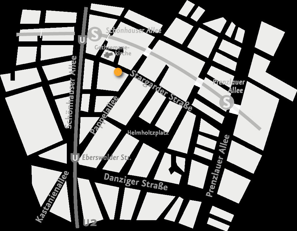 der Farbpunkt zeigt die Adresse Stargarder Str. 12 a